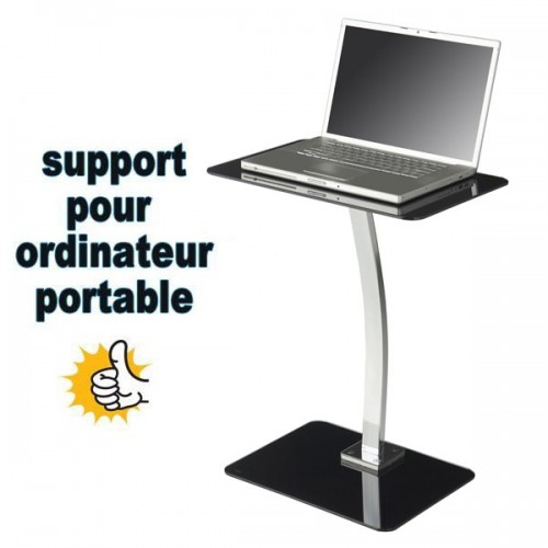 Support PC MAC en verre trempé table appoint chevet