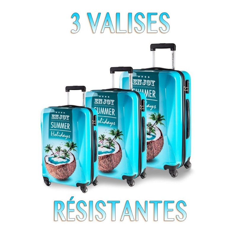 lot de 3 valises tendance BLEU