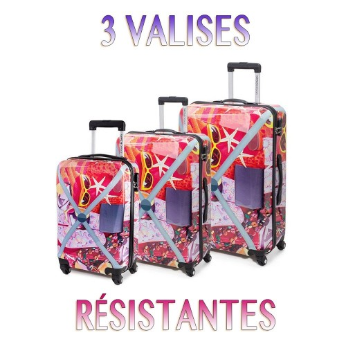 lot de 3 valises tendance ROUGE