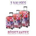 lot de 3 valises tendance ROUGE