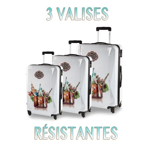 lot de 3 valises BLANCHES