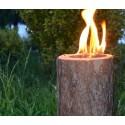 bûche suédoise bois bougie de jardin