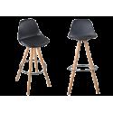 NORDIC lot 2 tabourets de bar bois massif style scandinave
