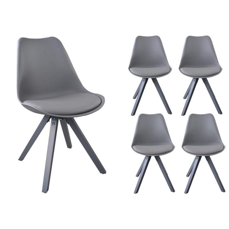 Lot de 4 chaises NORDIC Gris