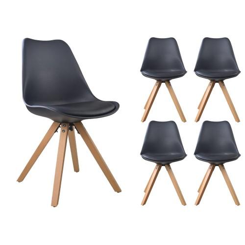 Lot de 4 chaises NORDIC Noir