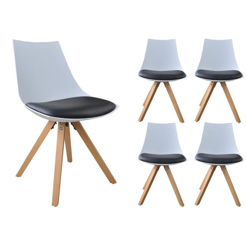 Lot de 4 chaises NORDICA Blanc et Noir