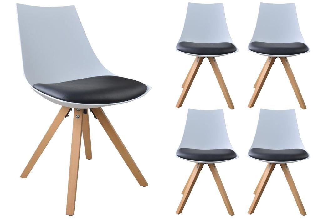 lot de 4 chaises nordica scandinave coque bois massif ebay. Black Bedroom Furniture Sets. Home Design Ideas