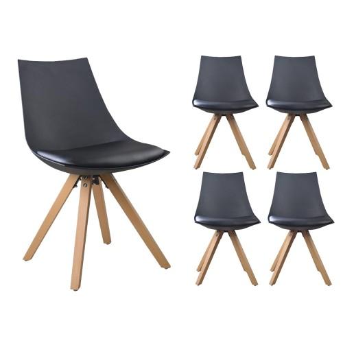Lot de 4 chaises NORDICA Noir