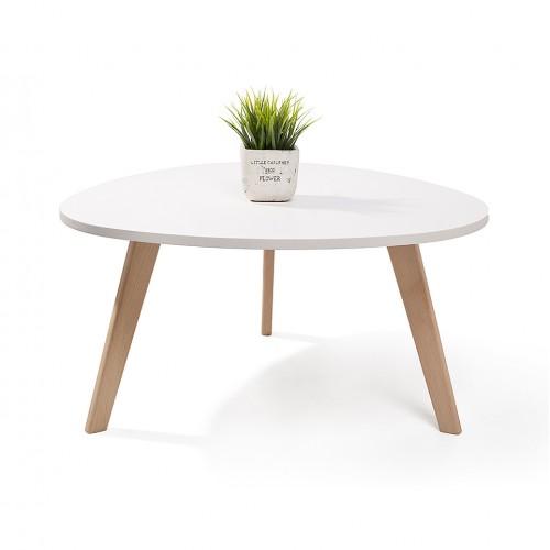 ALTA table basse scandinave aspect galet pieds en bois