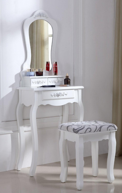 superbe coiffeuse table de maquillage blanc ebay. Black Bedroom Furniture Sets. Home Design Ideas