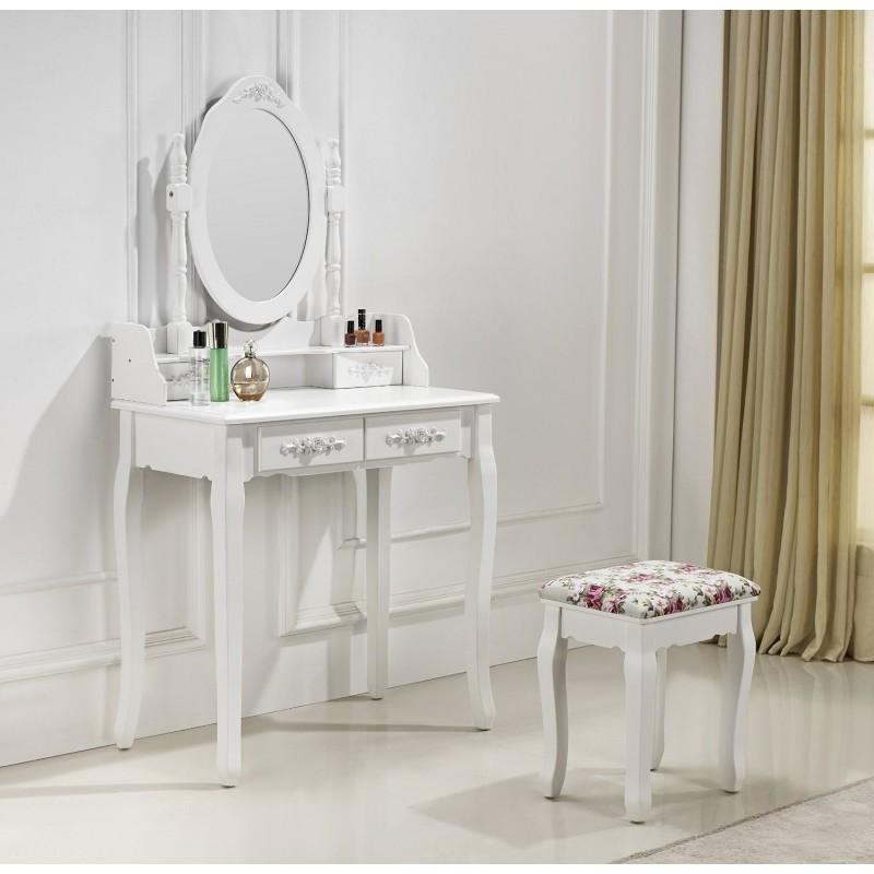 Coiffeuse 2 tiroirs avec table de maquillage - Coiffeuse avec tiroir ...