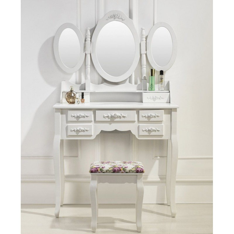 coiffeuse table de maquillage 3 miroirs et 7 tiroirs. Black Bedroom Furniture Sets. Home Design Ideas
