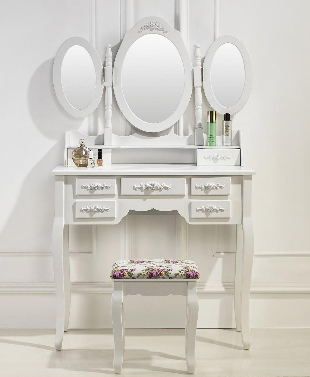 Coiffeuse blanche avec miroir fashion designs for Coiffeuse meuble