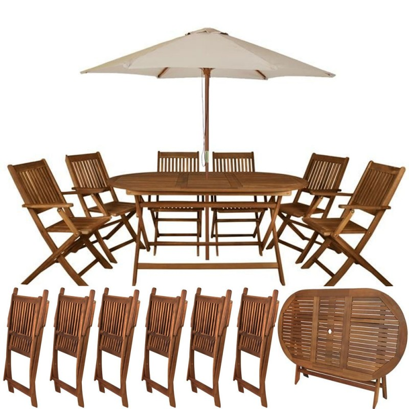 Ensemble Table et 6 chaises pliables de jardin - tout en bois