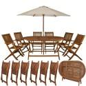 Ensemble salon de jardin en bois 6 chaises + table