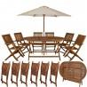 Ensemble de Jardin Table et 6 chaises en bois salon de terrasse