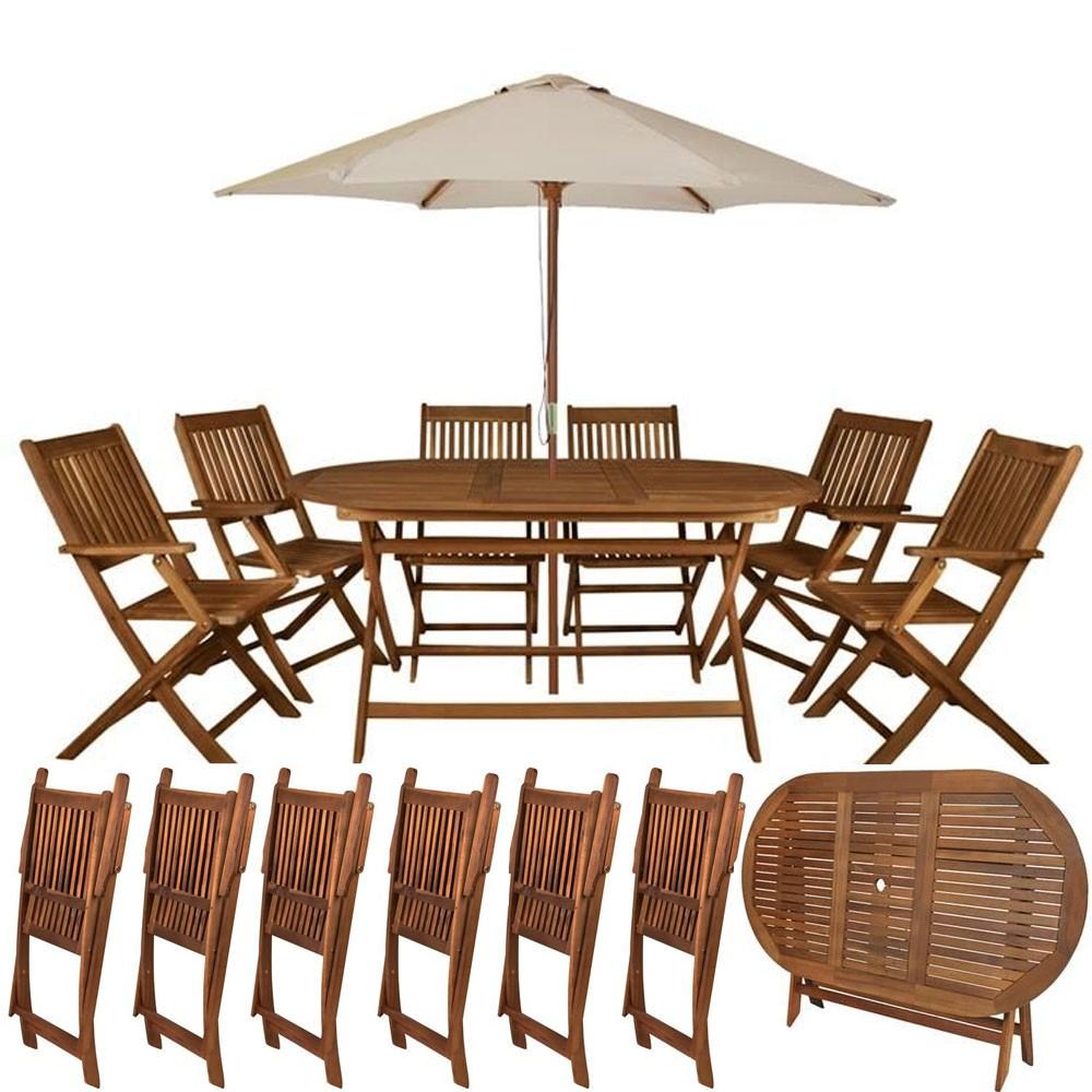 Stunning salon de jardin bois ovale photos - Table jardin en bois ...
