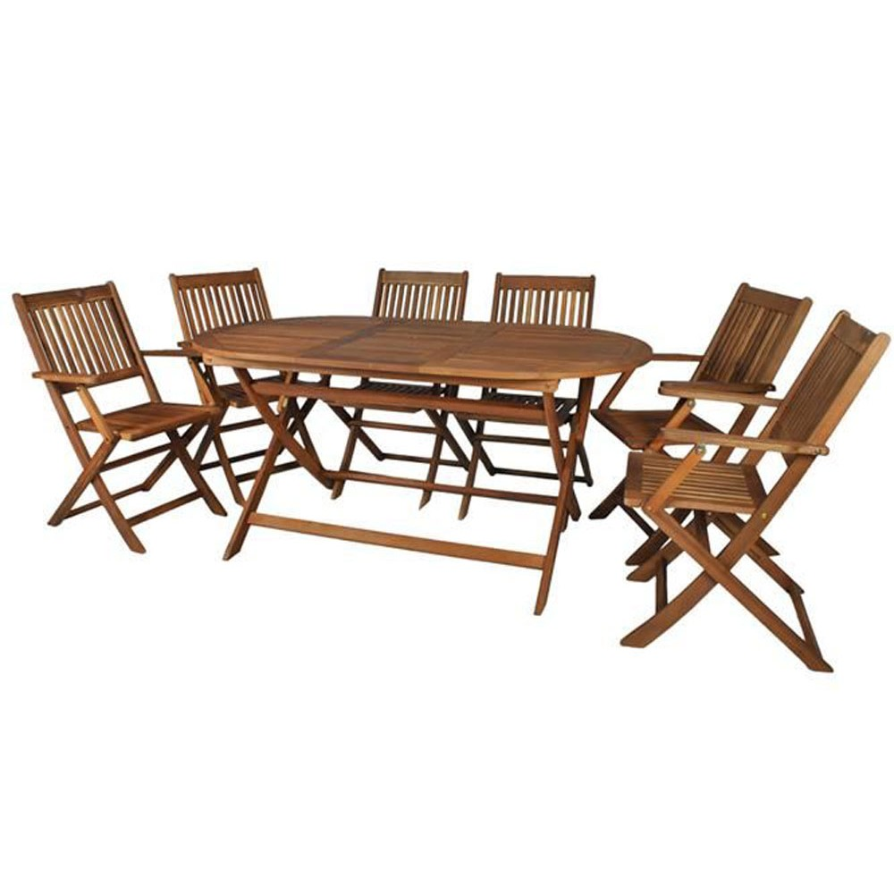 ensemble table et 6 chaises pliables de jardin tout en bois. Black Bedroom Furniture Sets. Home Design Ideas