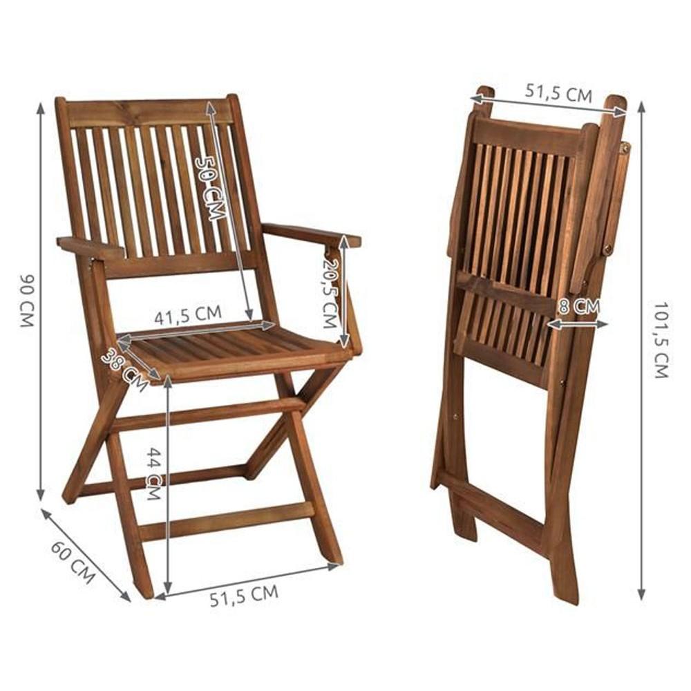 Ensemble table et 6 chaises pliables de jardin tout en bois for Chaise salon bois