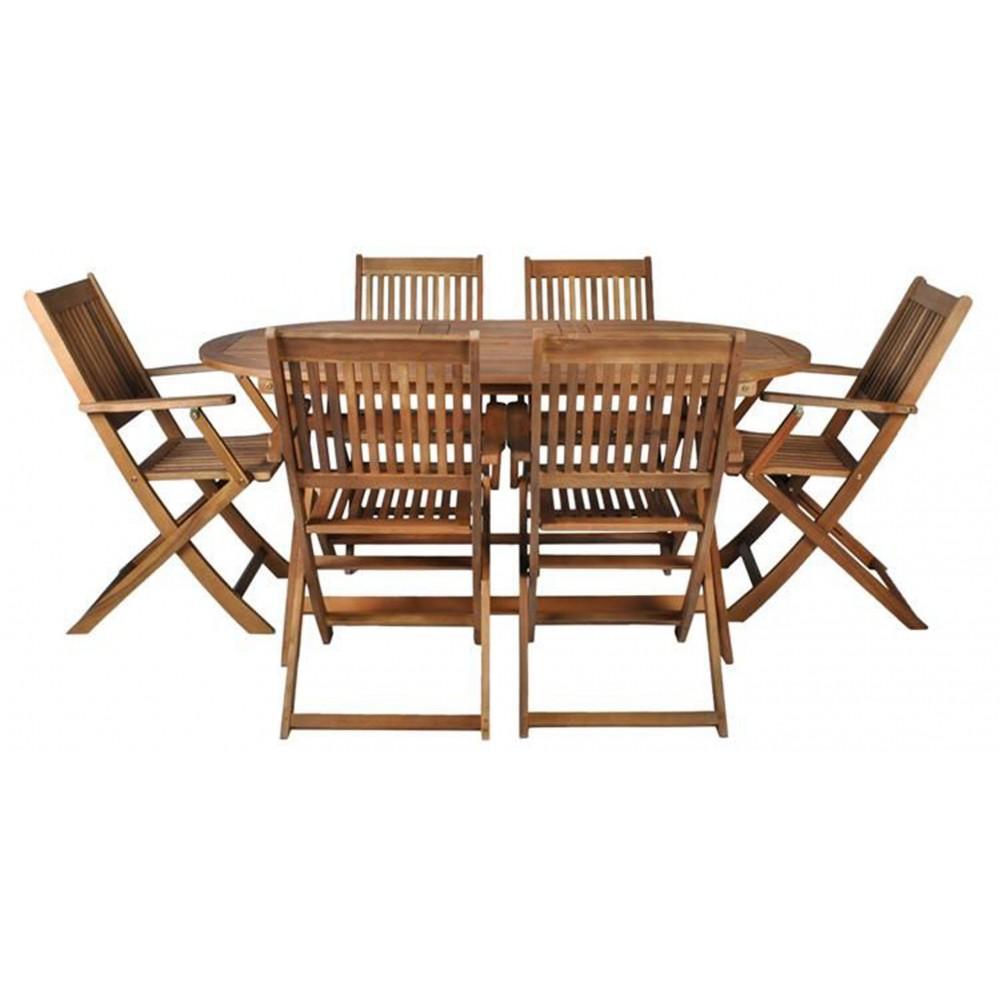 Ensemble table et 6 chaises pliables de jardin tout en bois - Ensemble table et chaise jardin ...
