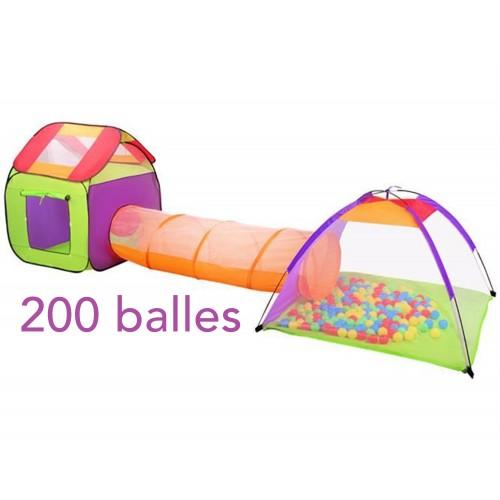 Tunnel et tente + 200 balles pour enfant Maison jeu