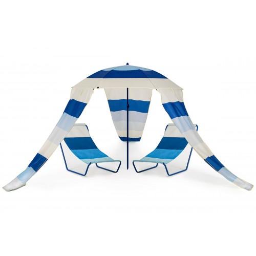 MAUI Cirque ensemble 2 transats avec parasol jardin plage