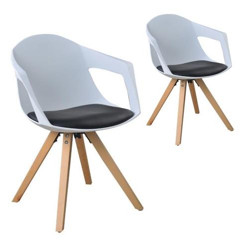 Lot de 2 chaises Josue blanc et noir