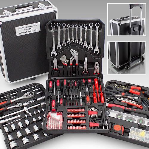 Mallette XXL avec 399 outils valise à roulettes coffret bricolage