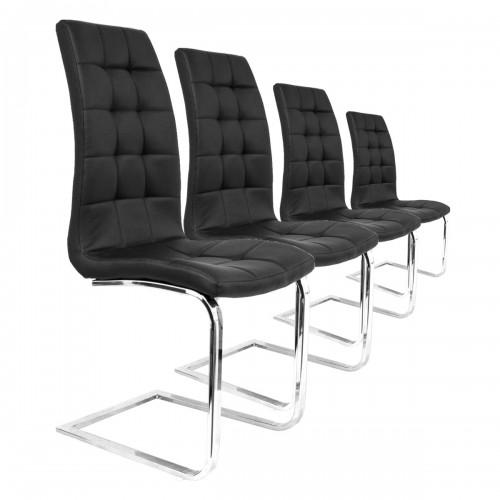 Lot 4 chaises S10 noir pied chromé