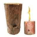 Feu suédois bûche suédoise bois bougie de jardin