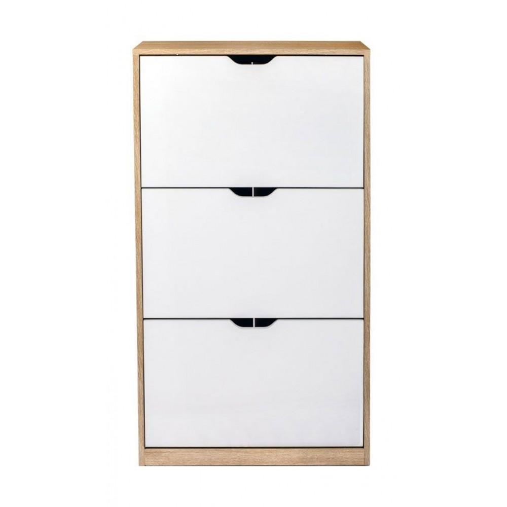 pratique meuble chaussure viki marron ou blanc style scandinave. Black Bedroom Furniture Sets. Home Design Ideas