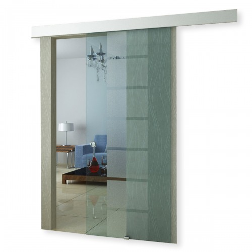 Porte coulissante en verre transparent