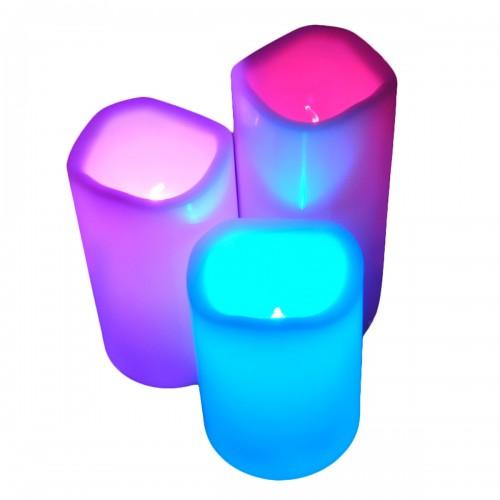 3 Bougies LED 12 couleurs fixes ou scintillantes + télécommande
