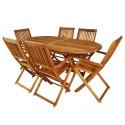 Salon de jardin en bois naturel huilé 1 table + 6 chaises