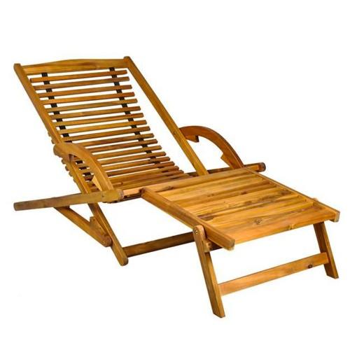 Transat en bois chaise longue bain de soleil avec repose pieds