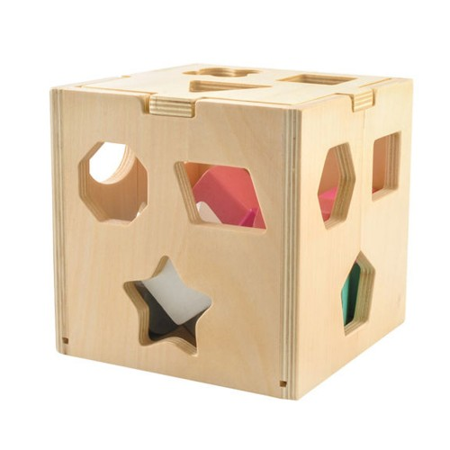 Cube de tri de formes en bois à partir de 3 ans Jouet puzzle 3D