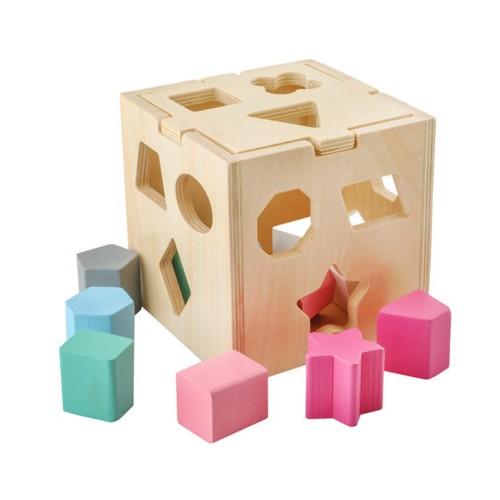 Cube de tri de formes montessori  en bois  Jouet puzzle 3D