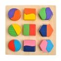 Puzzle 3D montessori en bois, formes géométriques colorées