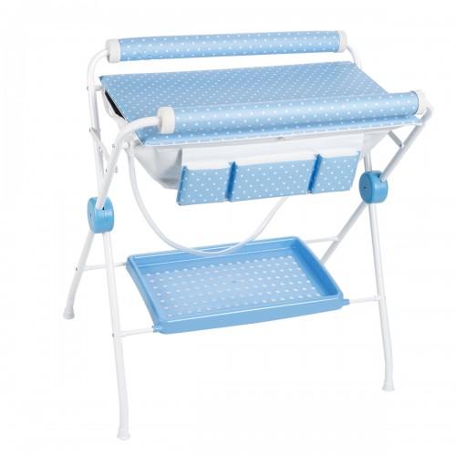 Baignoire table à langer pois bleus