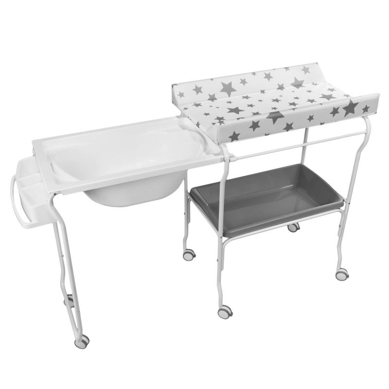 Table A Langer Et Baignoire 2en1 Sur Roulettes Pratique Ergonomique