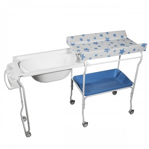 Baignoire rigide amovible table à langer Bleu motif étoiles