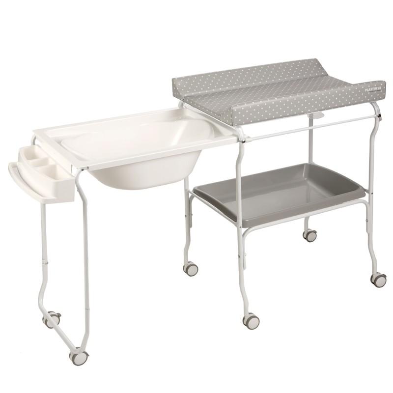 Baignoire rigide amovible table à langer grise motif pois
