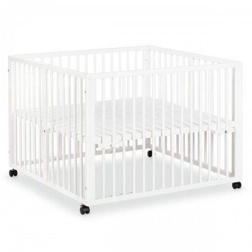 JONAS Parc bébé réglable en bois blanc avec roulettes intégrées