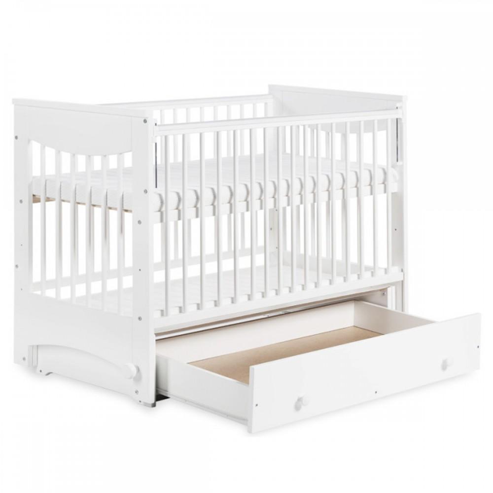 Lit Bébé à Bascule 120x60 Cm Avec Tiroir Et Barrière