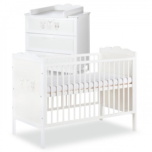 MARSELL Ensemble commode à langer + lit bébé