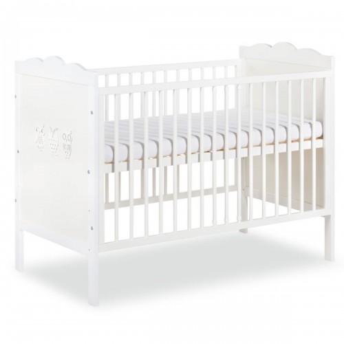 MARSELL Lit bébé à barreaux blanc avec motifs hiboux 120X60 cm