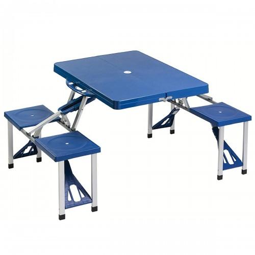 Table de camping pliante bleue