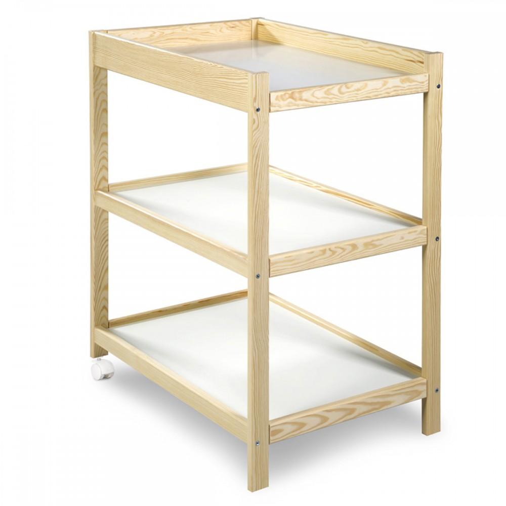 Table langer fonctionnelle en bois avec tag res et - Table a langer en bois avec baignoire ...