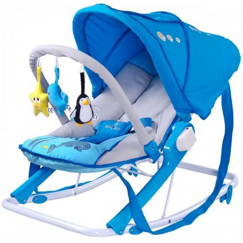 AQUA Transat balancelle bébé avec jouets et capote pliable