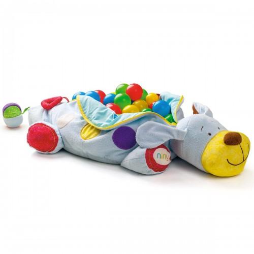 IPO Piscine à balles bébé dès 6 mois peluche chien jeux d'éveil